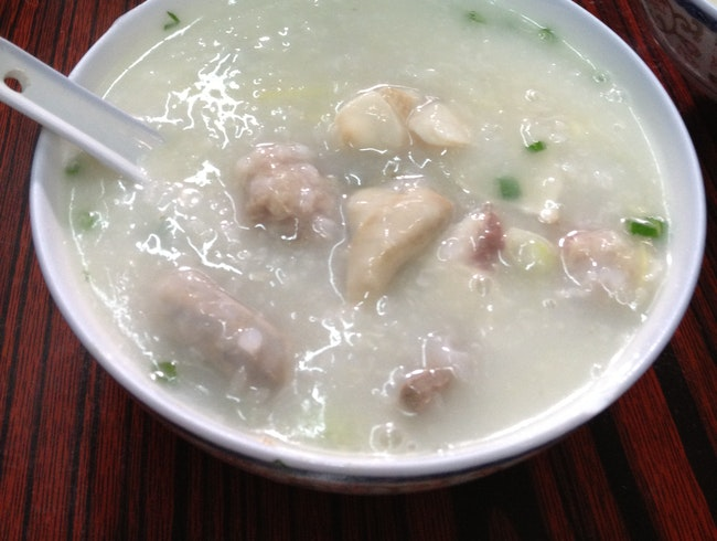 Classic congee with traditional fixings: liver, tripe, and pork