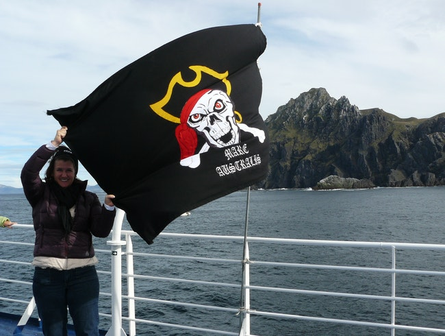 Holding a Pirate Flag while going around Cape Horn