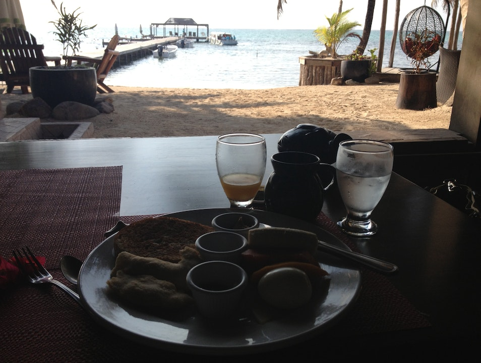 View from my breakfast table Corozal District  Belize