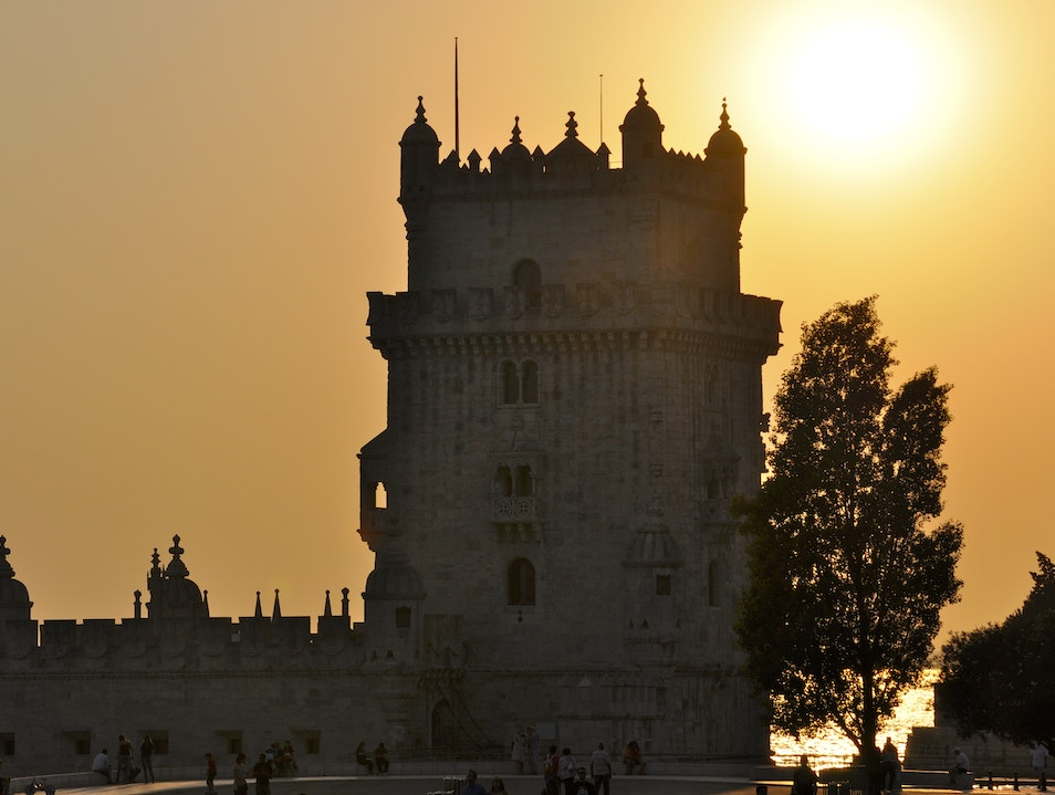 Sunset at Belem Tower Lisboa  Portugal