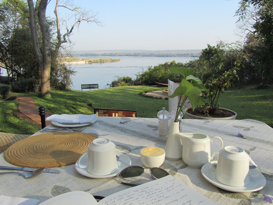 Breakfast above The Mighty Zambezi Zambezi National Park  Zimbabwe