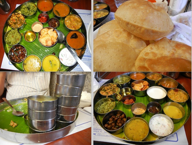 Eating an authentic south indian vegetarian meal