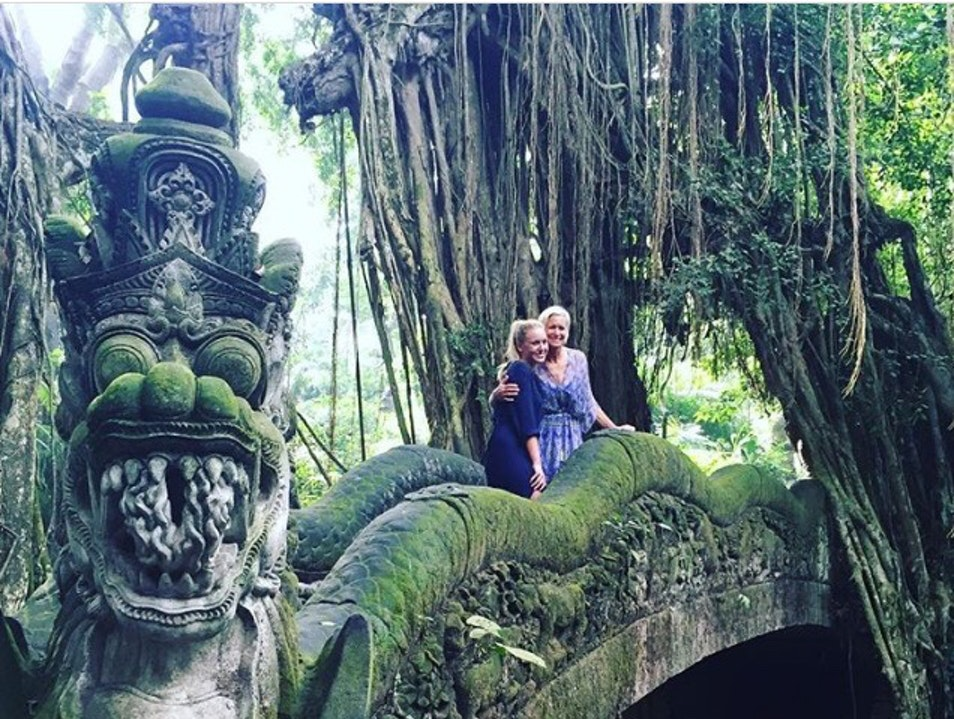 Family time in the Sacred Monkey Forest Ubud  Indonesia