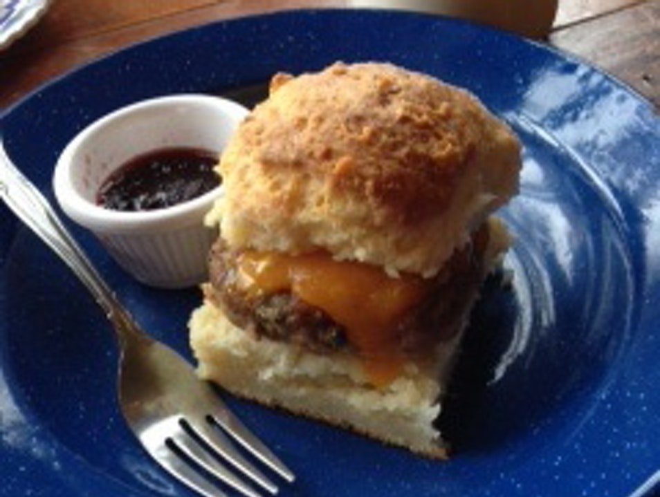 Delicious pie and biscuits in a charming spot