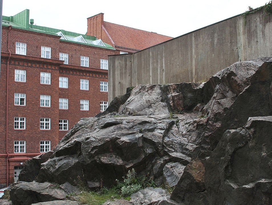 Architectural Church Built into a Rock Helsinki  Finland