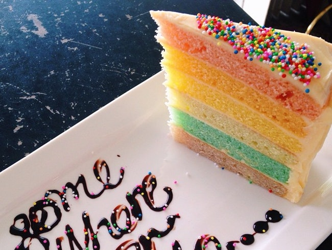 Quiet, quaint coffee shop with great rainbow cake