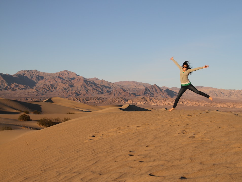 Jumping around the Mesquite Flat Sand Dunes in Death Valley! DEATH VALLEY California United States