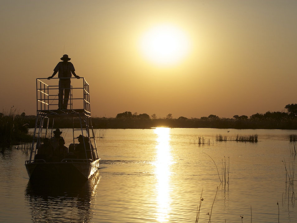 Boating safari on the Okavango Delta Ngamiland East  Botswana