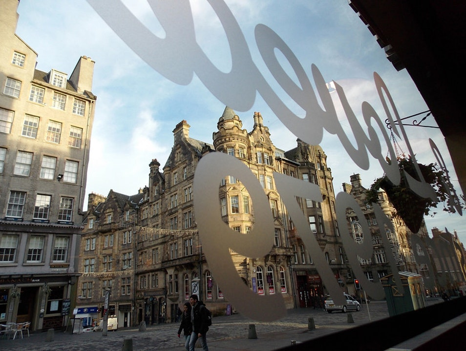 Looking out at the Royal Mile