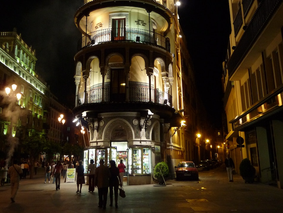 Candy shop at night Seville  Spain