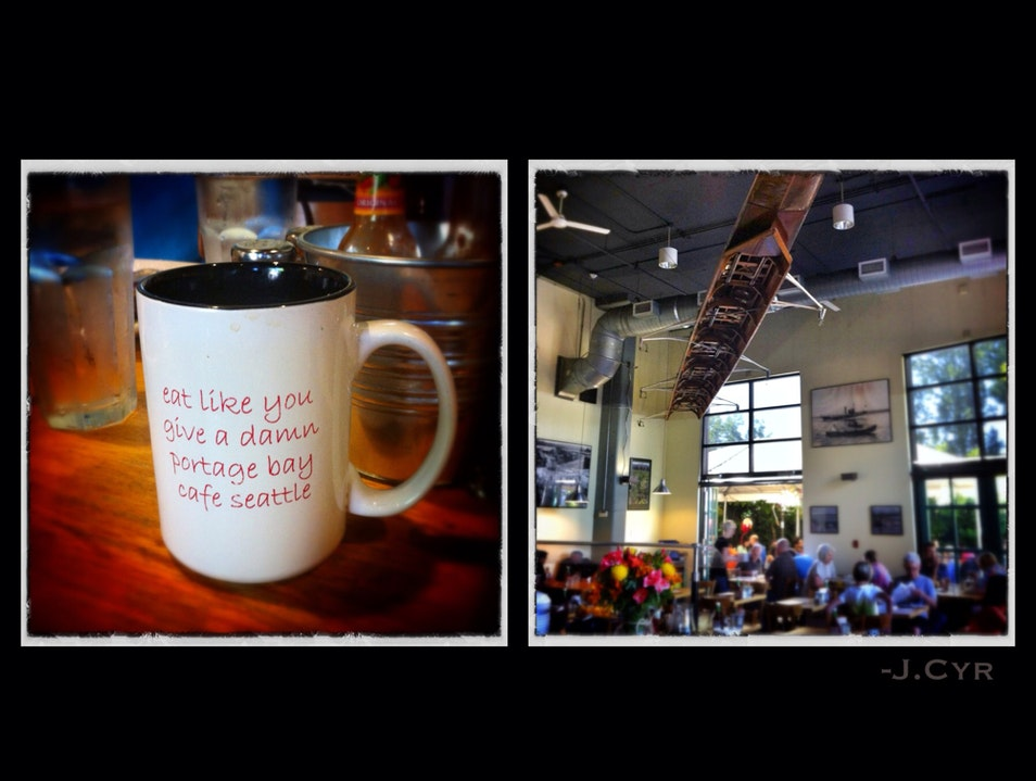 Eat like a rower; breakfast under a boat Seattle Washington United States
