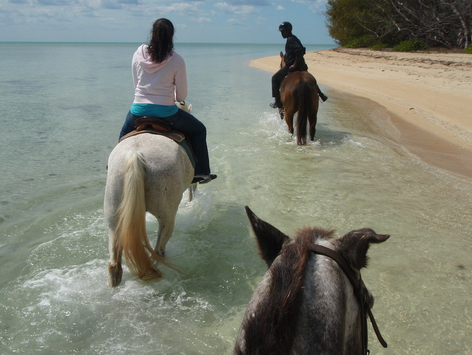 Horseback Riding Along Secluded Beach New Providence  The Bahamas