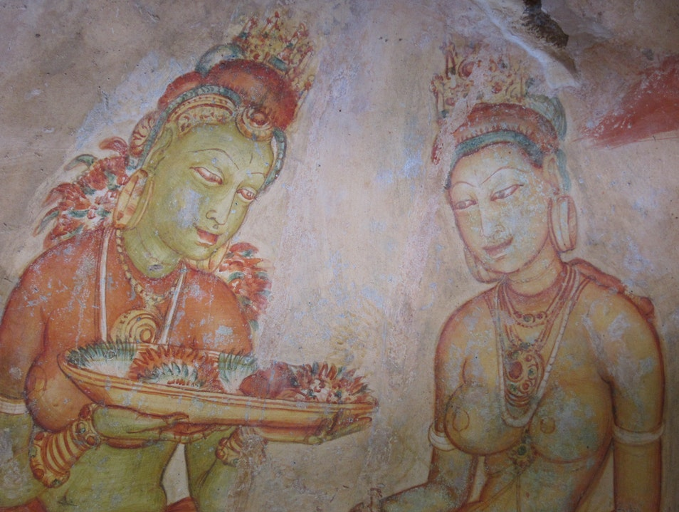 Paintings on Sigiriya cave walls Sigiriya  Sri Lanka