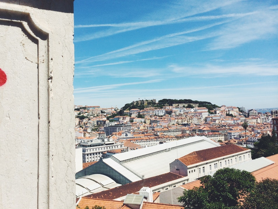 Catching the sites from a viewpoint near Barrio Alto Lisbon  Portugal