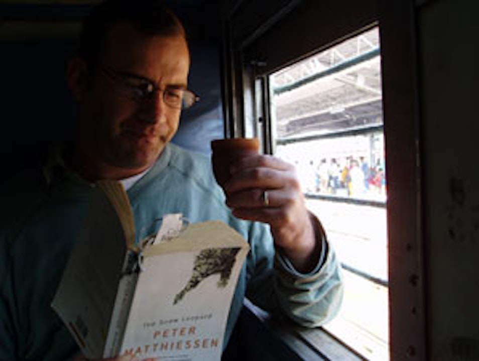 Reading Matthiessen on Varanasi-Aggra Train Varanasi  India