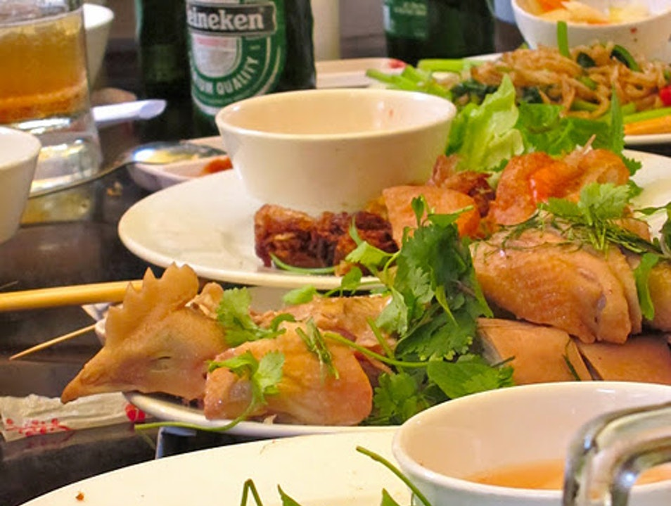 Open-air lunch feast in Ha Noi Ho Chi Minh City  Vietnam