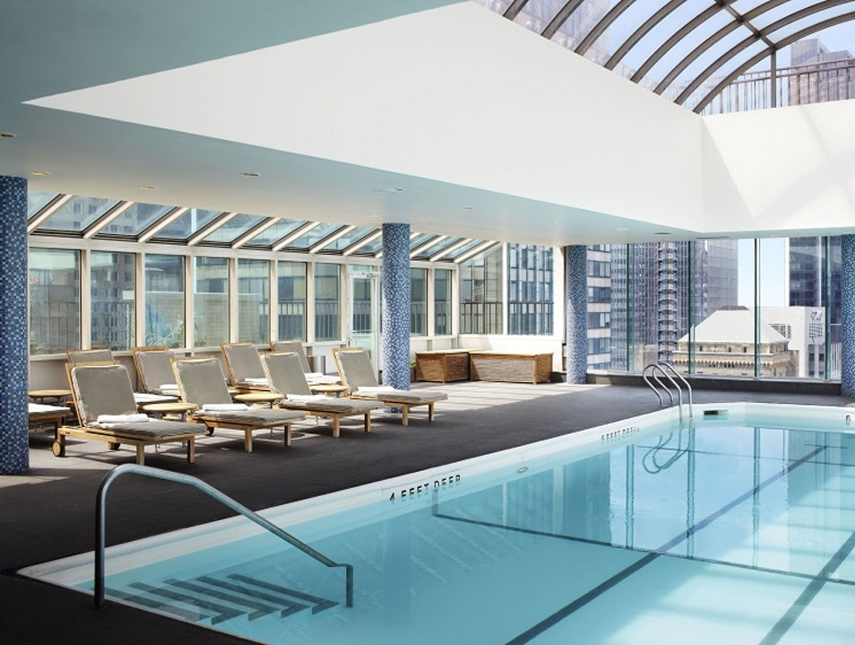 Rooftop pool with a view of Central Park