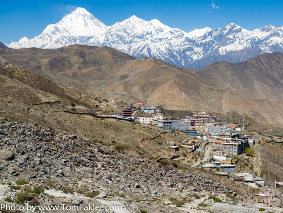Spectacular view from the Muktinath shrine in Lower Mustang of Nepal