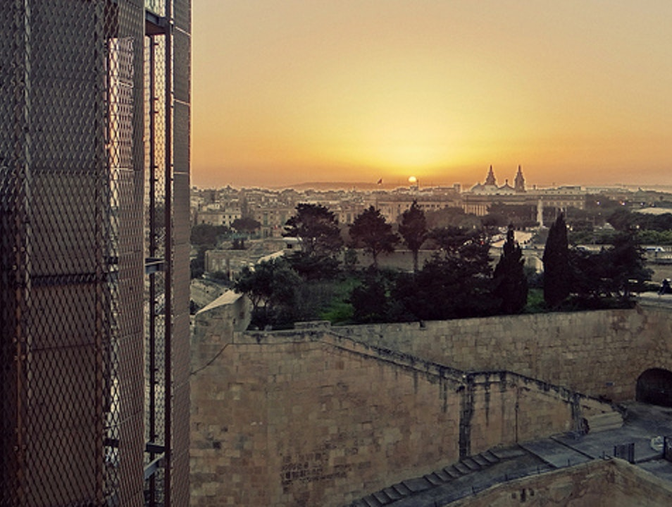 Sunset from the Barrakka Elevator Il Belt Valletta  Malta