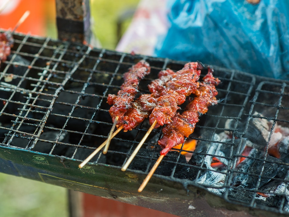 Barbecue pork skewers Siem Reap  Cambodia