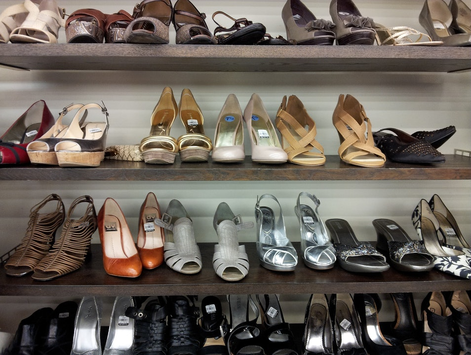 Shelves of Shoes at Shoreline's Goodwill