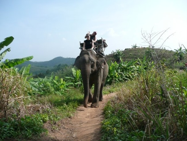 At Ban Ruammit, riding the elephants up the mountain to a remote Lahu village where we spent the night.