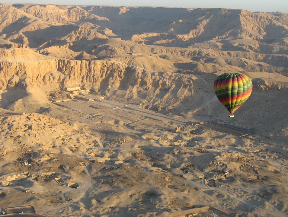 Ballooning Above the Temple of Hatshepsut, Upper Egypt Luxor  Egypt
