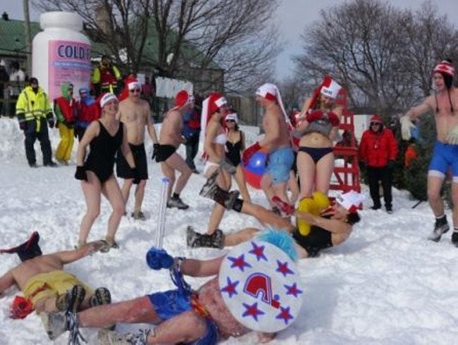 Snow bath at Quebec winter carnival
