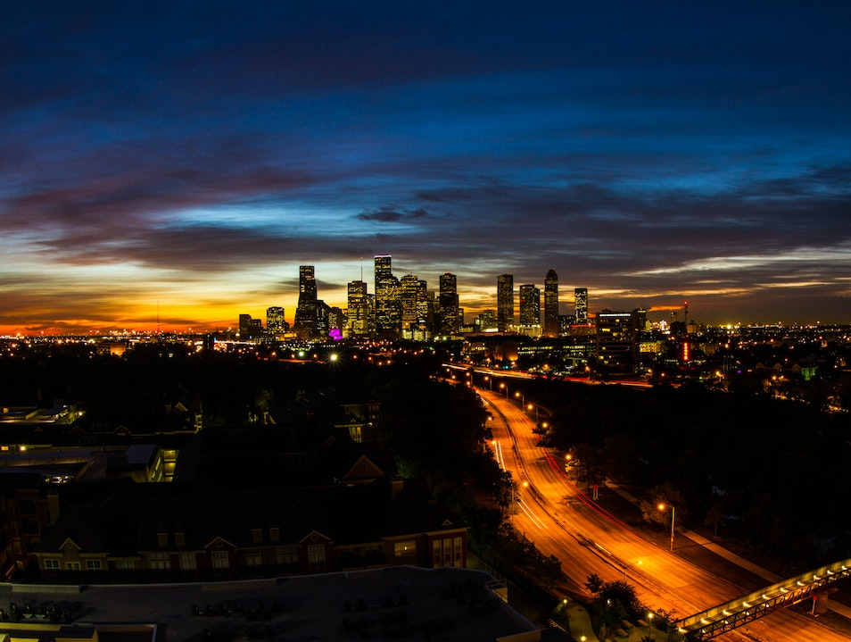 Houston Downtown Skyline at Dawn Houston Texas United States