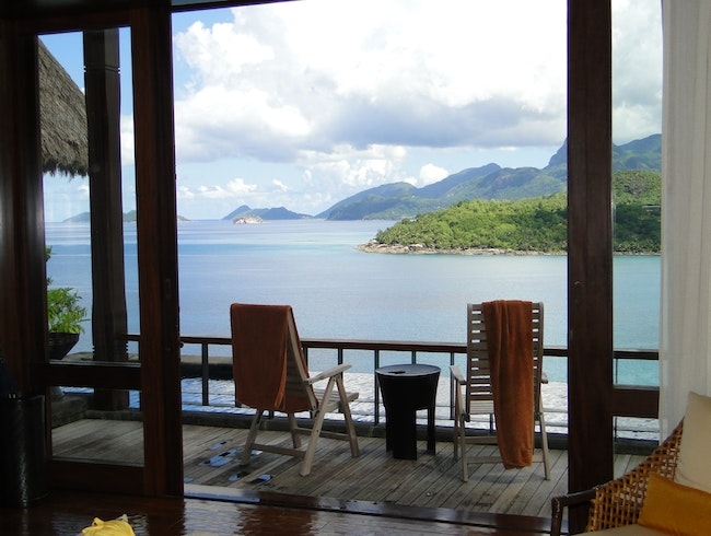 The view from our villa on the Seychelles...
