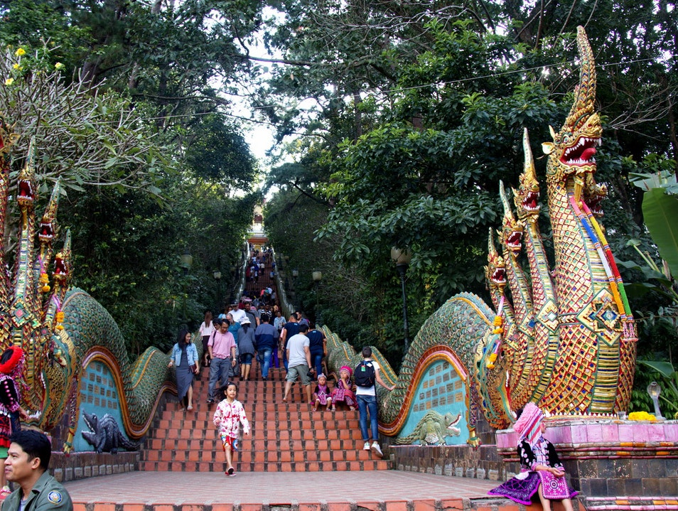 The Iconic Naga Staircase, Wat Phra That Doi Suthep, Chiang Mai, North Thailand Mueang Chiang Mai  Thailand