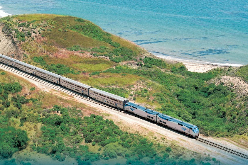 The Pacific coastline is one highlight of the Coast Starlight train.