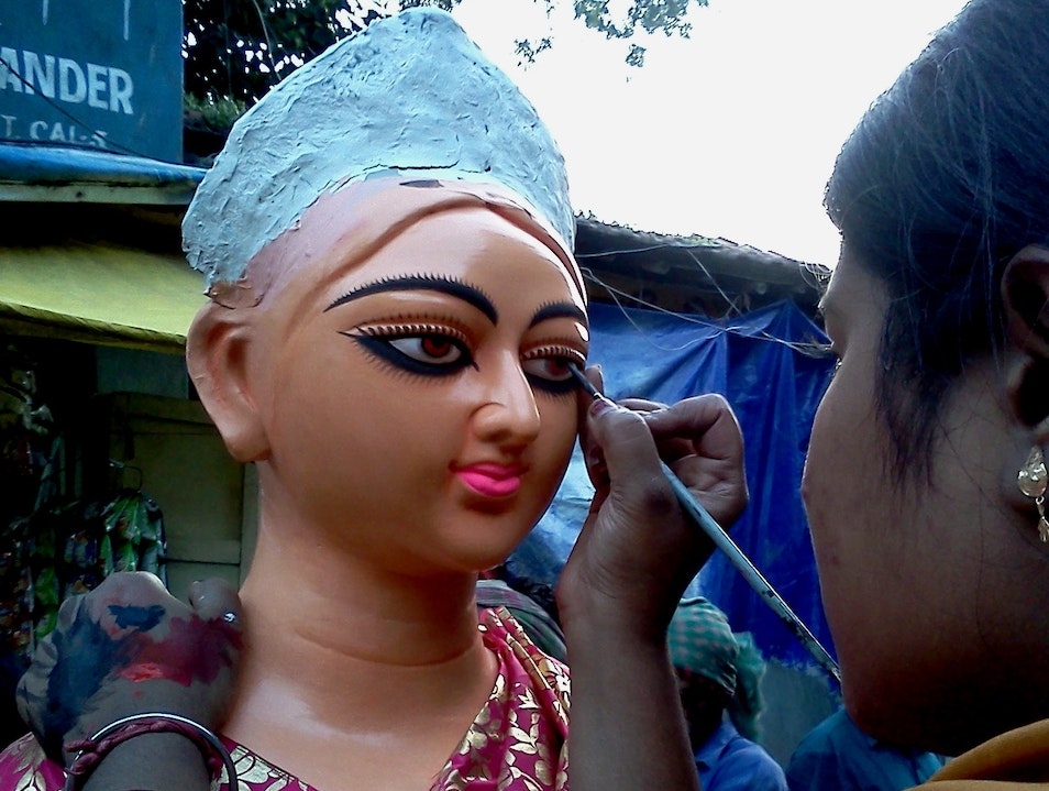 Creating the eye of the goddess Kolkata  India