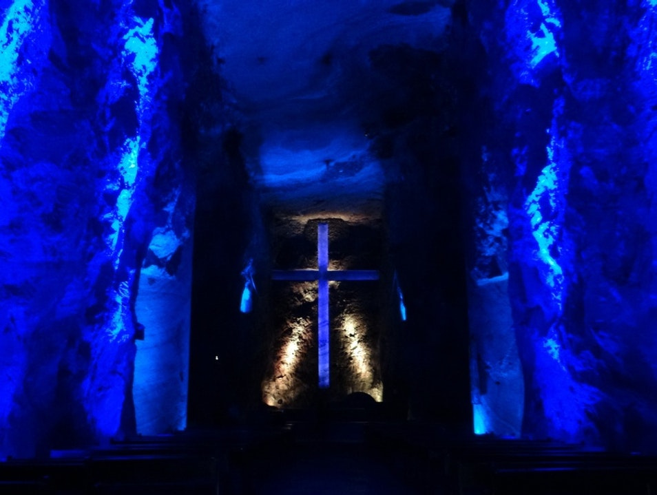 A Dark Walk through the Salt Cathedral Zipaquira  Colombia