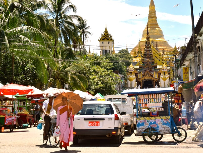 Vibrant Street Market East of Shwedagon