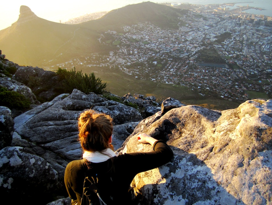 Sunset view on a flat mountain  Cape Town  South Africa