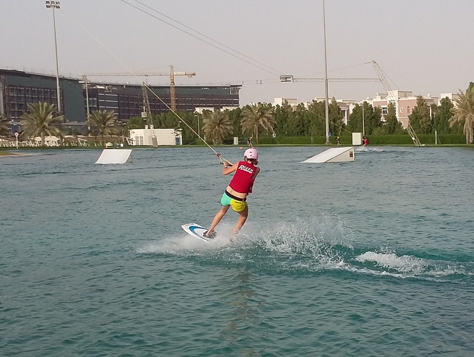 Wakeboarding Park in the Desert Abu Dhabi  United Arab Emirates