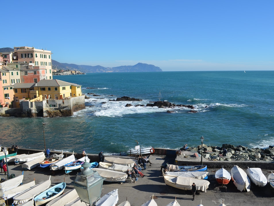 Walk the Corso Italia to Boccadasse Genoa  Italy