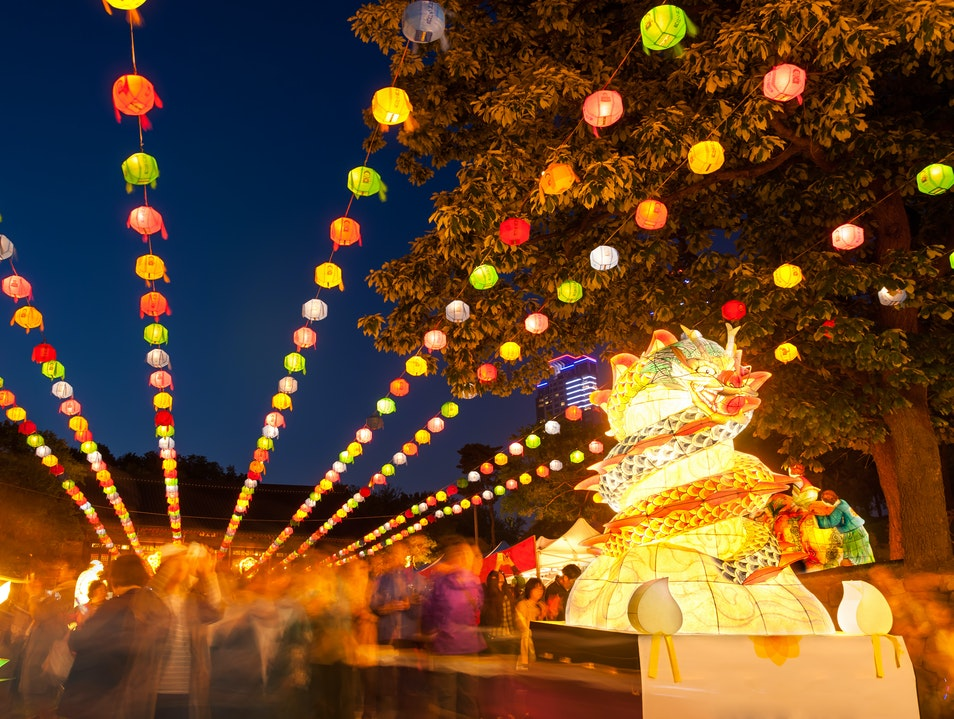 Paper Lanterns at Bongeunsa Temple Seoul  South Korea