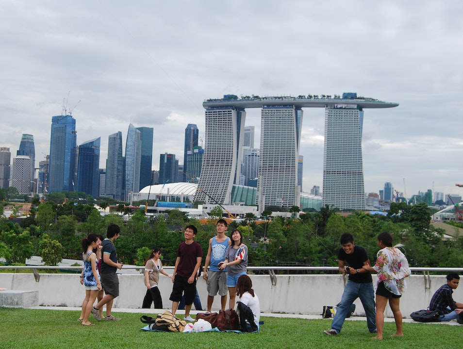 Kite-Flying and Picnicking at Marina Barrage Singapore  Singapore