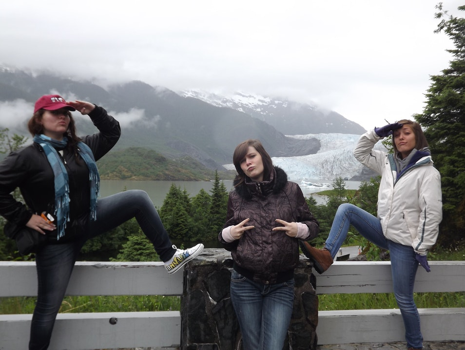 How do you upstage the Mendenhall Glacier?  Three teens with attitude, of course! Juneau Alaska United States