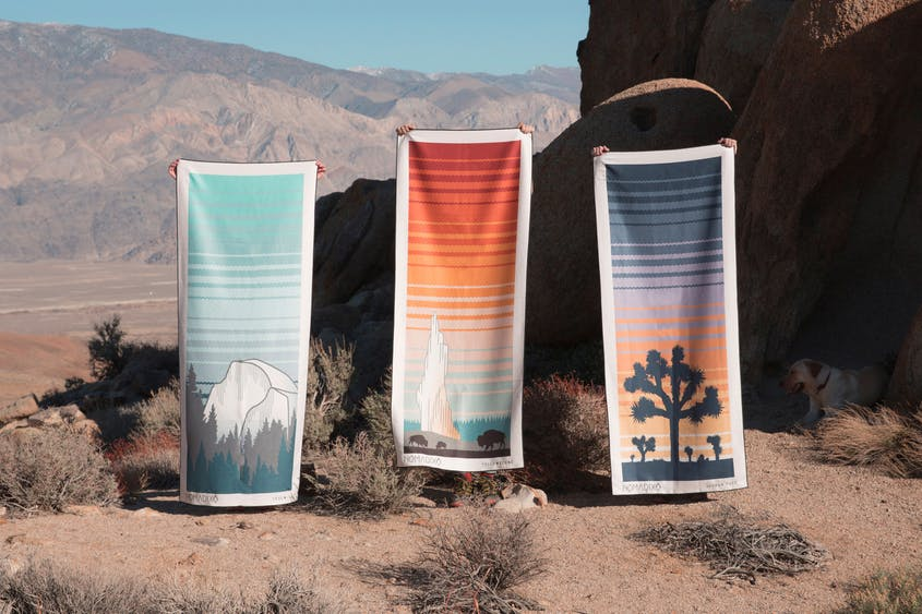 Fast-drying Nomadix towels are made from postconsumer recycled plastic bottles.