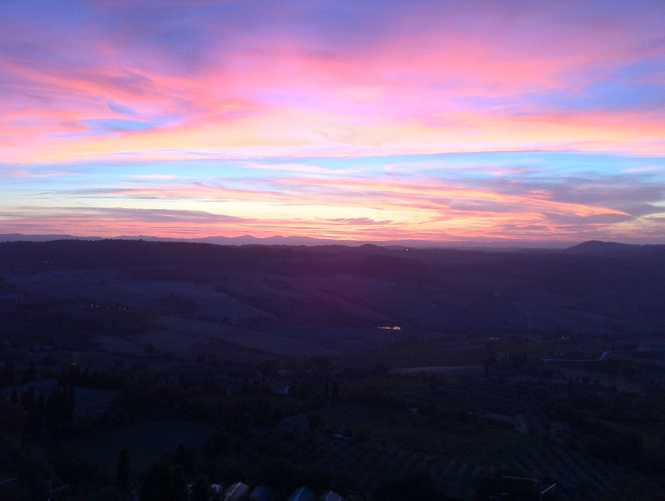 Sunset view on Val D'Orcia Montepulciano  Italy