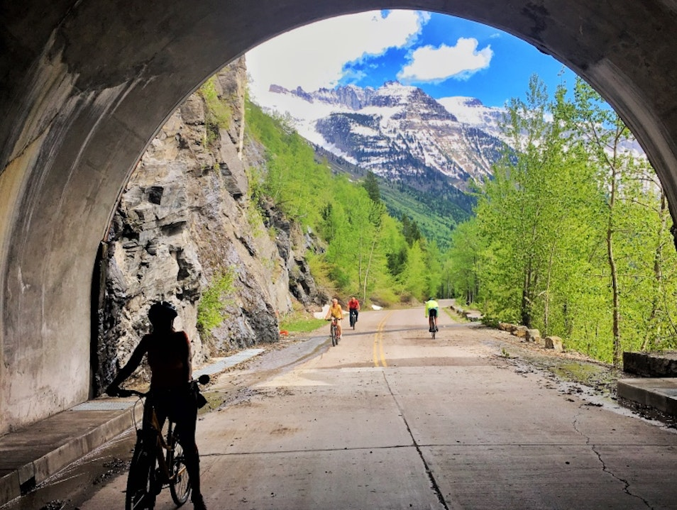 Bike Glacier National Park's Going to the Sun Road in May Hungry Horse Montana United States