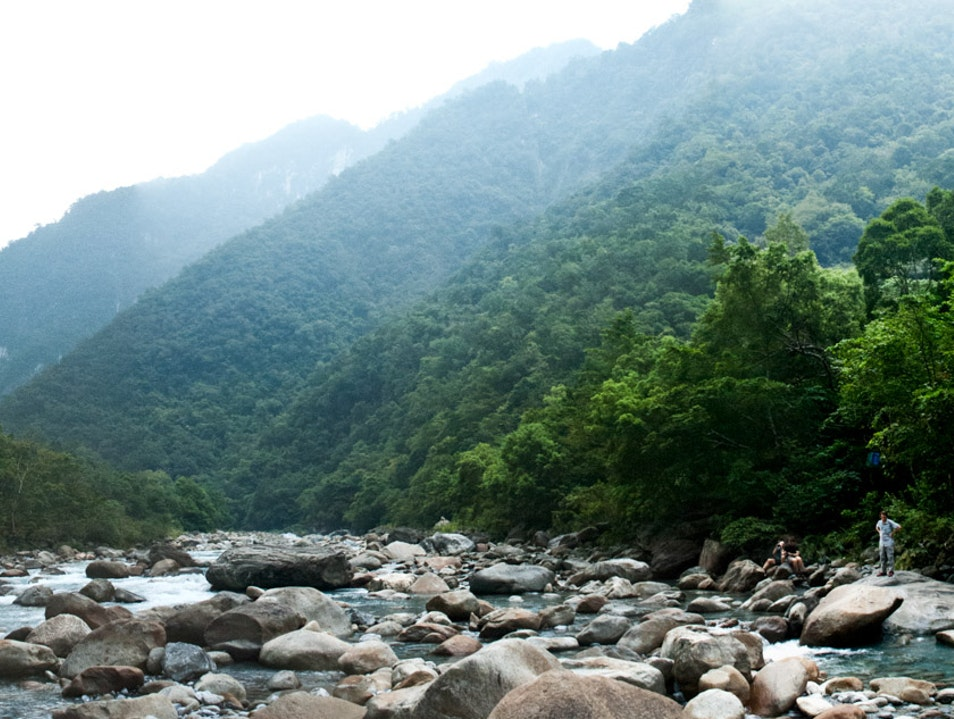 Walk Along the River on the Shakadang Trail Xiulin Township  Taiwan