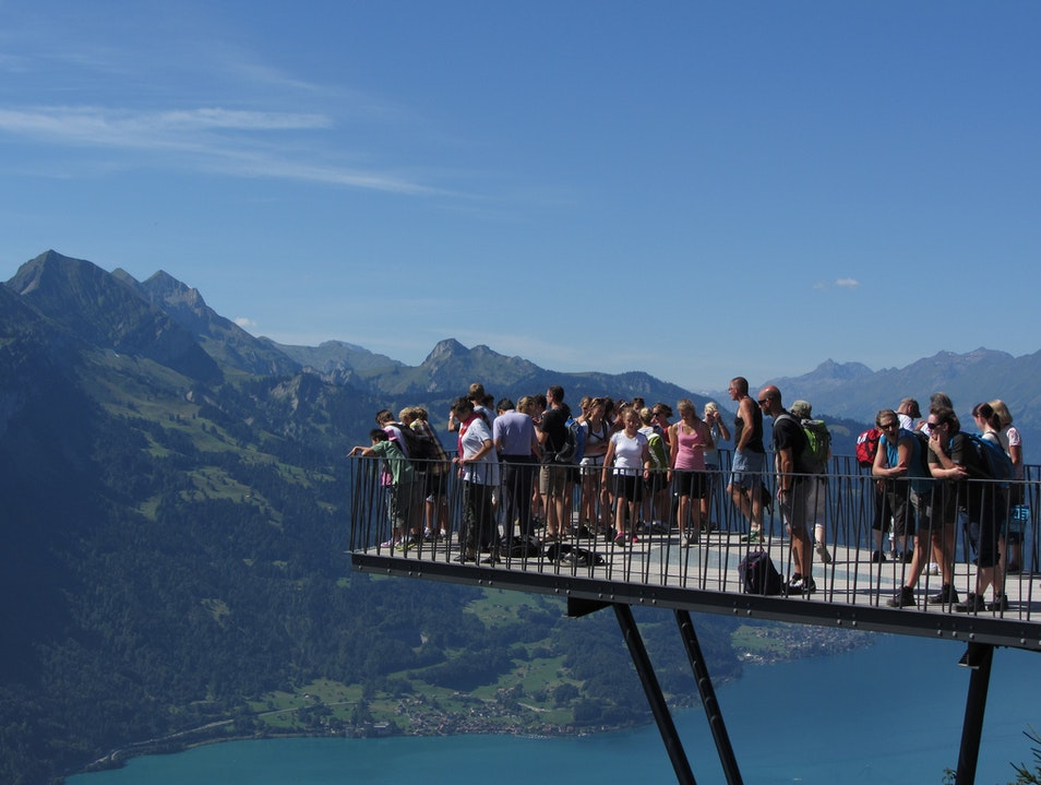 The View from Harder Kulm's Two Lakes Bridge Sundlauenen  Switzerland