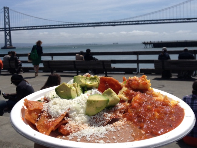 enjoy the bay bridge and delicious chilaquiles.