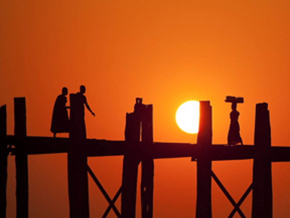 Sunset Stroll on U Bein Bridge Mandalay  Myanmar