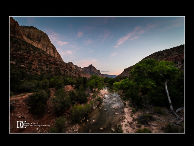A view from the Virgin River Bridge at Zion National Park, Utah
