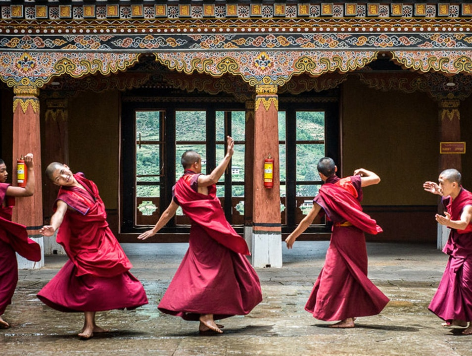 Dancing Monks at Rinpung Dzong, Paro, Bhutan Paro  Bhutan